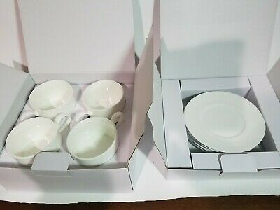Crate & Barrel Set Of 4 White Flat Cups & Saucers New In Box 4 SETS!