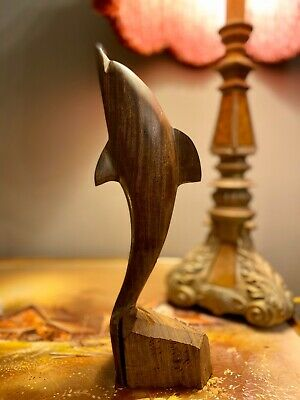"""Vintage Solid Wood Carved Dolphin- 11""""Long-Nice Nautical Decorative"""