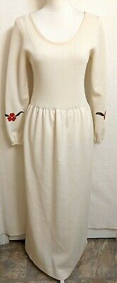 Vintage 70s Ayres Unlimited Women Size 14 Floral Long Sleeve Sweater Dress Cream