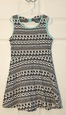 Limited Too Girls Dress Striped Flowers Black Whote Mint Green Size 6