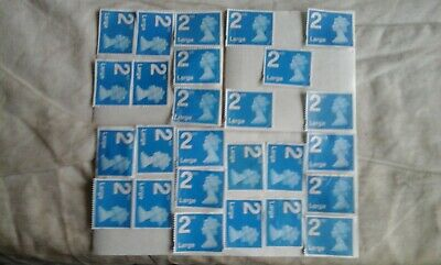 25 x Large 2nd class Blue security stamps unfranked WITH gum