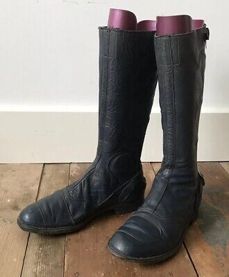 Vtg 60s Original Aviakit Lewis Leathers Racing Motorcycle Boots Navy E6A7.5C39