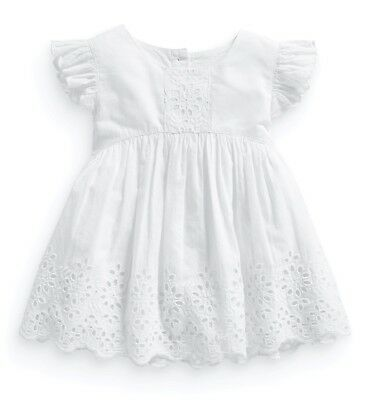 ••• BNWT NEXT Girls Tunic Top • White Embroidered Blouse • Cotton • 9-12 Months