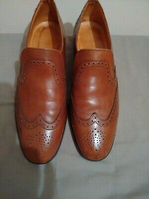 Vintage Sanders Leather Brogue Style Slip On Shoes Size 7.5