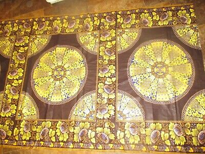 BATIK Vintage YELLOW BLUE FLOWERS SHAPES On BROWN 1970's COTTON Fabric-shy 2 yd