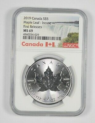 MS69 2019 $5.00 Canada 1 Oz. Silver Maple Leaf Incuse - 1st Releases - NGC *196