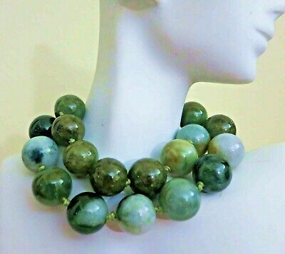 "Rare Antique Chinese Carved Jade Jadeite Huge 18mm Beads Necklace 18"" Sterling"