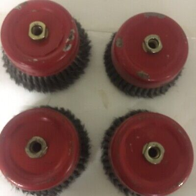 "4 Pcs. Knotted Cup Wire Brush Wheel W/ 5/8"" Arbor"