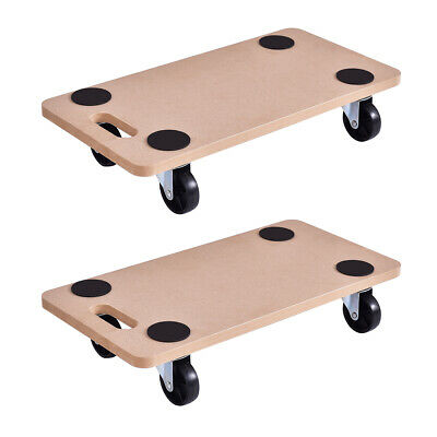 2 Pieces 440lbs Platform Dolly Rectangle Wood Utility Cart Moving Transporter