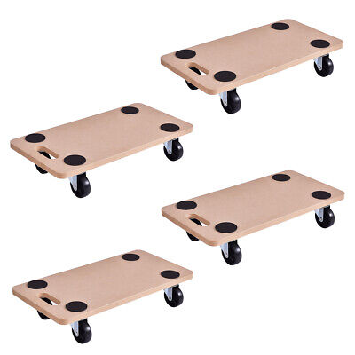 4 Pieces 440lbs Platform Dolly Rectangle Wood Utility Cart Moving Transporter