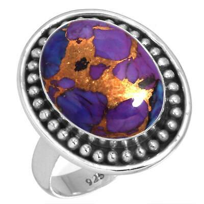 Copper Purple Turquoise 925 Sterling Silver Handmade Ring Size 6.5 cM88232