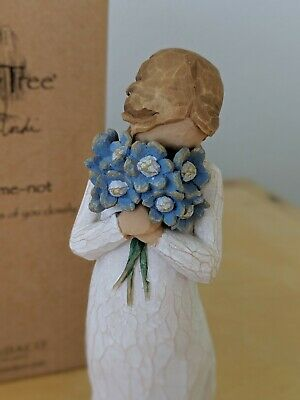 Willow Tree Forget-me-not Figure - Girl with blue flowers. In original box.