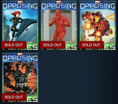 Topps Marvel Collect Opposing Forces Lot of 4 Daredevil Iron Man Black Widow