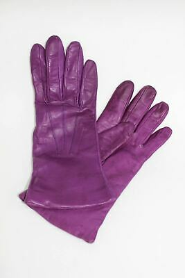 ASPINAL OF LONDON Ladies Cashmere Lined Dark Purple Soft Leather Gloves 6.5 NEW