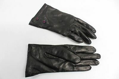 ASPINAL OF LONDON Ladies Leather 100% Cashmere Lined Dark Brown Gloves 7 NEW