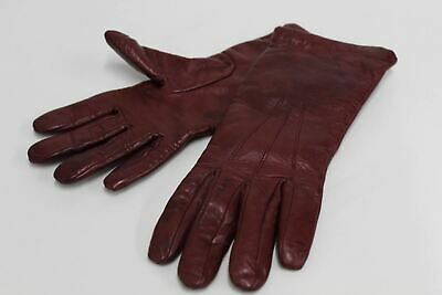 ASPINAL OF LONDON Ladies Burgundy Nappa Leather Cashmere Lined Gloves 6.5 NEW