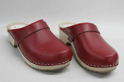 WORLD OF CLOGS Ladies Leather Am Toffeln 100 Clog Slip On Shoes Red UK5 EU38