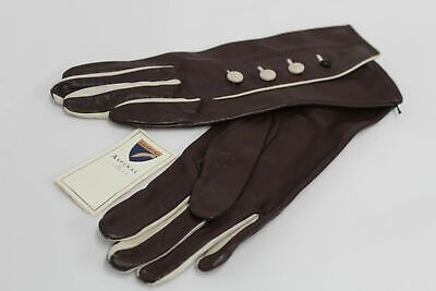 ASPINAL OF LONDON Ladies Brown Leather Cream Accent Button Up Gloves 6.5 NEW