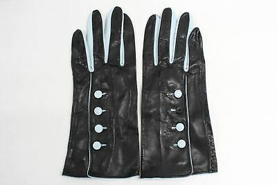 ASPINAL OF LONDON Ladies Black And Blue Leather Driving Gloves Size 8 NEW