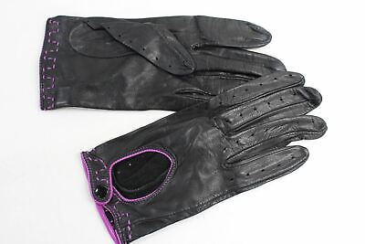 ASPINAL OF LONDON Ladies Leather Purple lined Black Driving Gloves Size 7 NEW