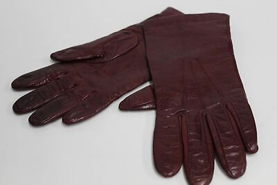ASPINAL OF LONDON Ladies Burgundy Nappa Leather Cashmere Lined Gloves 7.5 NEW