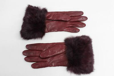 ASPINAL OF LONDON Ladies Burgundy Leather Faux Fur Cuff Luxury Gloves 8 NEW