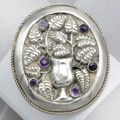 Vtg Art Deco Arts & Crafts Sterling Silver Repousse Amethyst Flower Brooch Pin