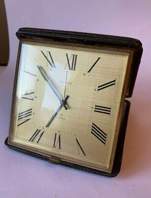 "Large Vintage collectible ""Estyma"" leather travel alarm clock"