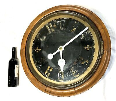"""MASSIVE Antique 18 """" Dial Chain Fusee Oak Wall Advertising Clock"""