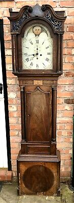 Antique Inlaid Mahogany Rolling Moon Phase Longcase Grandfather Clock