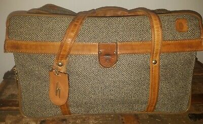 Vintage HARTMANN LUGGAGE Brown Leather & Tweed  Carry On Overnight Travel Bag