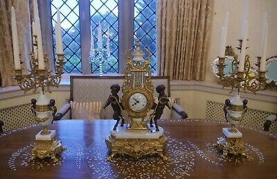 French Ormolu, Marble & Bronze Garniture Clock Set