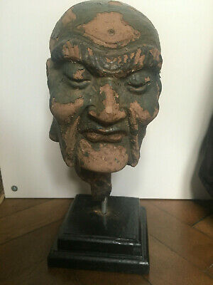 15th-16th Century Ming dynasty Chinese lacquered stucco head of a Luohan