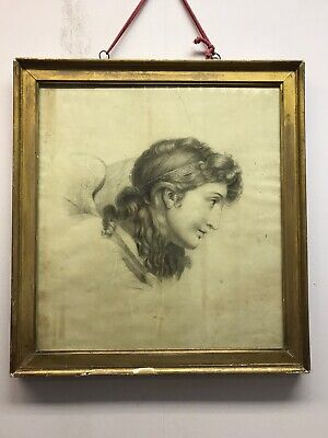 Antique Old 18th 19th Century vintage drawing Cherub  portrait old master study