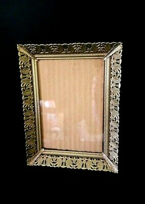 "Vintage filigree ornate gold metal picture frame, 5"" x 7"", free standing"