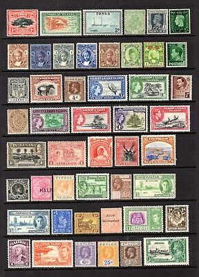EMPIRE-COMMONWEALTH QV TO EARLY QE11 CLEAN MINT NO GUM - UNUSED x 48 STAMPS
