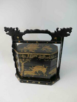 Antique Chinese Black Lacquered with Art Paintings Three Layer Basket