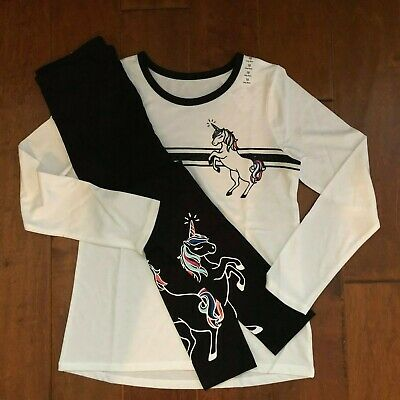 Nwt Justice Girls Outfit Size 8~ White & Blk Unicorn Tee / Leggings - So Cute!!
