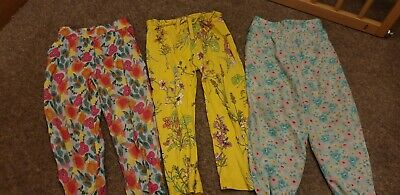 3 pairs Girls Light Weight Summer Floral Trousers Age 2-3 Years, Next, Mini Club