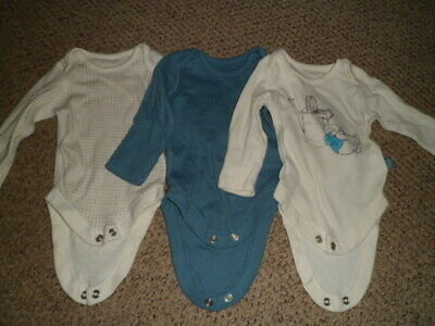 Baby Boy M&S Peter Rabbit Long Sleeve Vests Size up to One Month