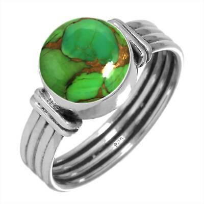 925 Sterling Silver Copper Green Turquoise Handmade Ring Size T Cm03154