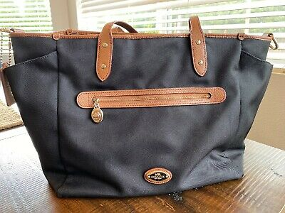 Authentic Coach Sawyer Black Tote Baby Diaper Bag Handbag F37758 *used*