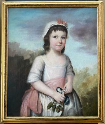 Fine 18Th Century Portrait Of A 'Young Girl With Flowers' No Reserve