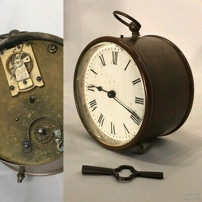 Rare Vintage antique french Brass Clock Key Wound  Mechanical Movment Working