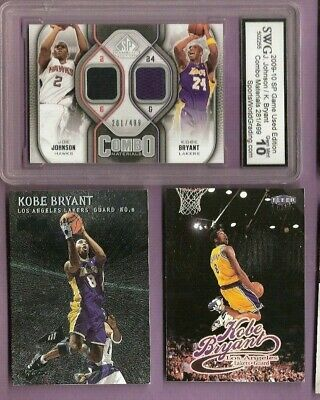 Kobe Bryant GAME USED JERSEY CARD GRADED 10 GEM MINT 99 METAL &98 ULTRA + LAKERS