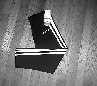 Adidas Girls  3 Stripes  Cropped Leggings Size Medium
