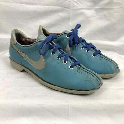 Vintage 80S Nike Swoosh Baby Blue Bowling Shoes Size 8.5