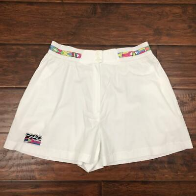 "Vintage 80S Head High Waist White Tennis Shorts Size 14 3"" Inseam Usa"