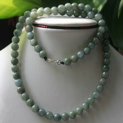 """Genuine 100% Natural Jade """"Type A"""" Beautiful Oily Green Jadeite Necklace #N288"""