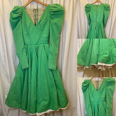 Vtg Square Dance Circle Ruffle Lace Rockabilly  60S Dress Green St Patty's Day